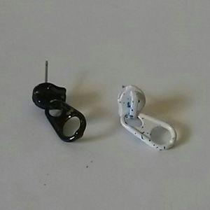 Asymmetrical zipper earrings